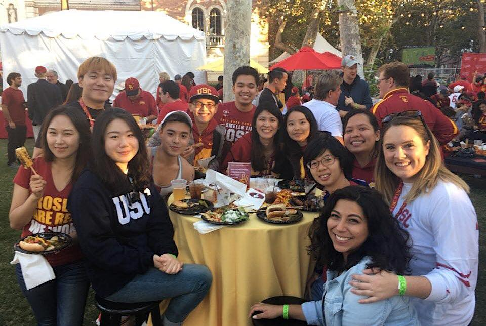 USC international students at football tailgate event, November 2017