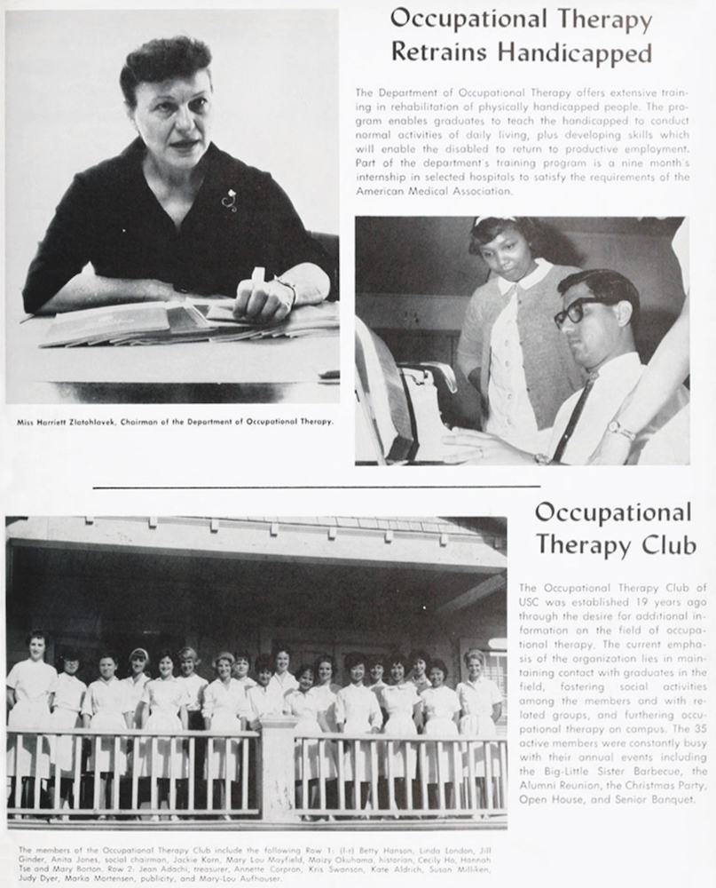 The 1964 edition of El Rodeo, USC's yearbook, features Department Chair Harriet Zlatohlavek and the Occupational Therapy Club.