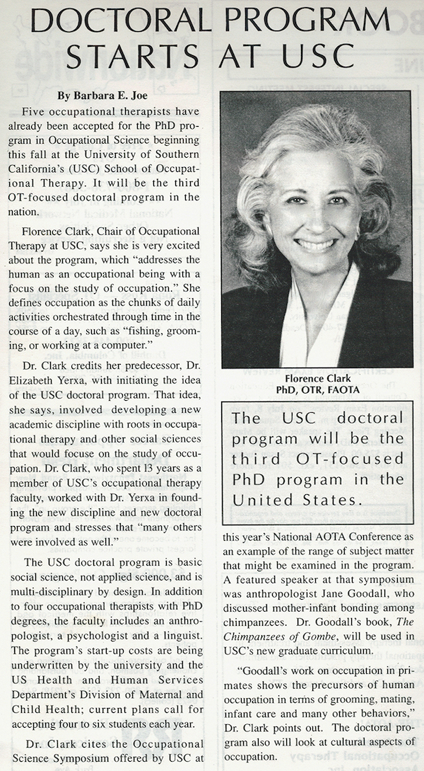 Florence Clark is named Department Chair in 1988 and under her leadership USC significantly increased federal grant funding for research and educational programs.
