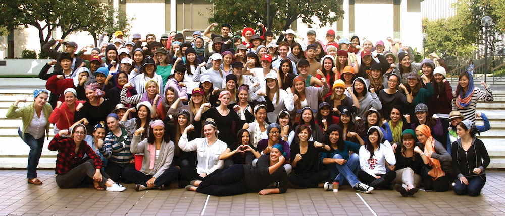 Students at 'Scarf and Hat Day' in support of Caryn Roach (front center), diagnosed with Hodgkin's lymphoma two months prior