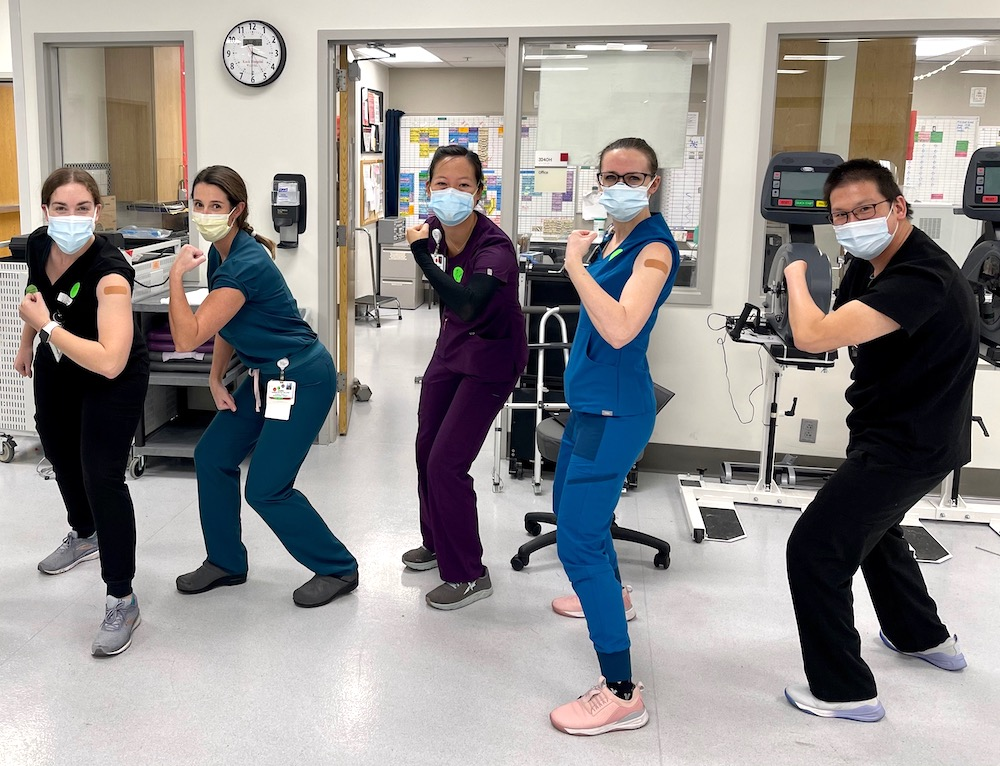 Faculty members and COVID providers at Keck Hospital of USC (from left to right) Carnie Lewis, Jamie Wilcox, Jennifer Chan, Kelsey Peterson and John Margetis.