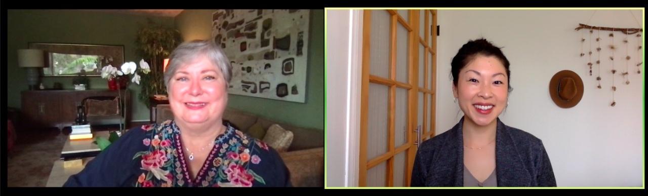 Michalski, left, and Sako during a recent telehealth visit
