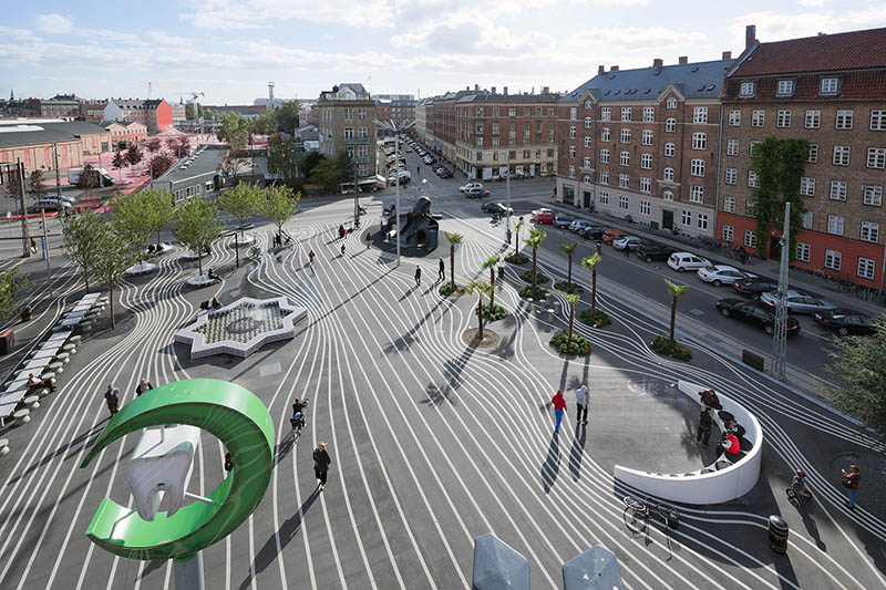 A shared continuous surface in Copenhagen, Denmark that allows for multiple forms of play | Photo by Iwan Baan