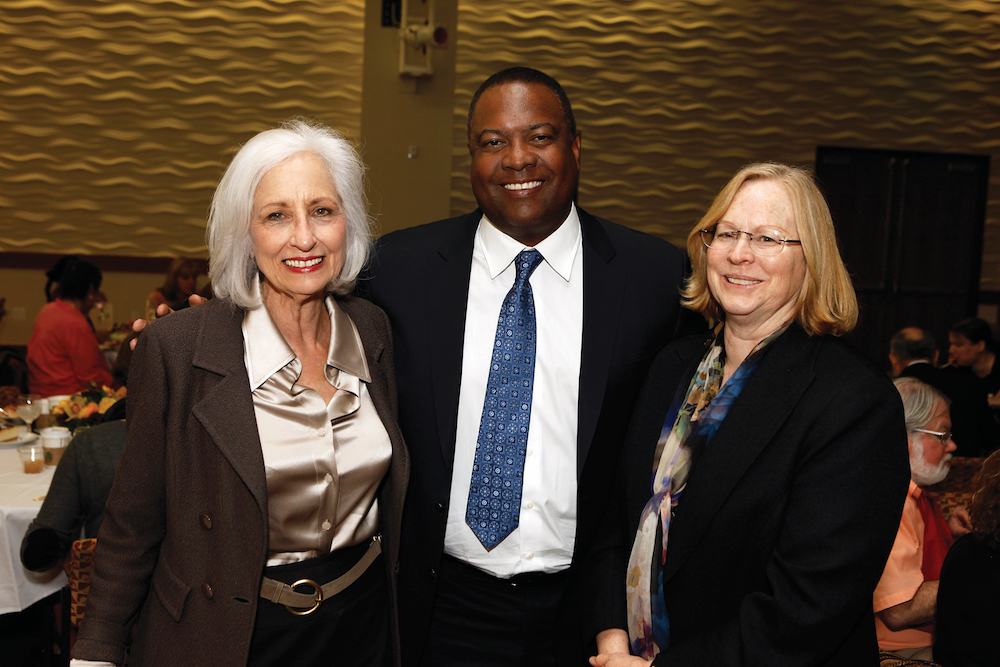 Associate dean Florence Clark (L) greets Rodney Peete (C) and Buehler Award recipient Catherine Lord (R). Photo by Steve Cohn