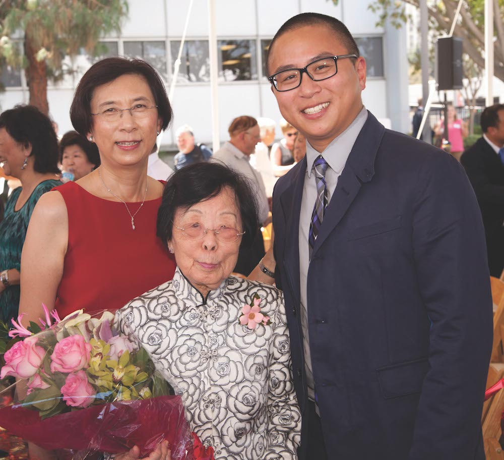 Pictured (from left): Barbara Chan, Mrs. T.H. Chan, and Adley Chan, assistant clinical professor. Photo by John Skalicky