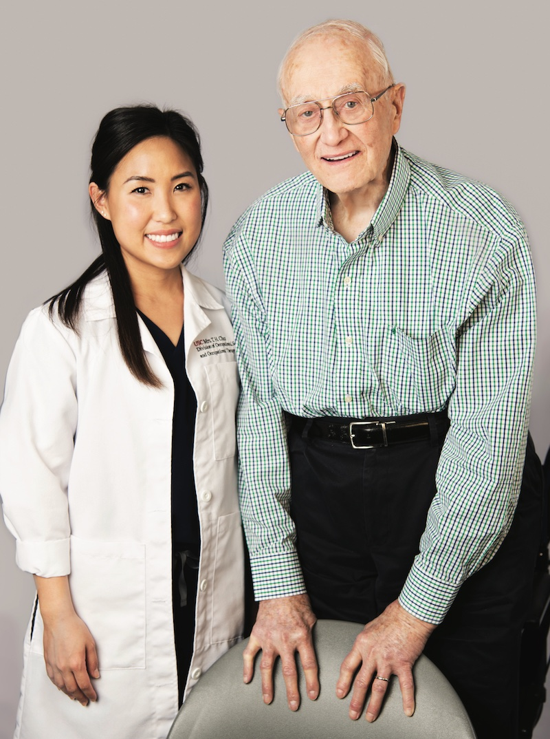 Faculty clinician Jodie Murakami and USC Keck patient George Benton | Photo by Hannah Benet