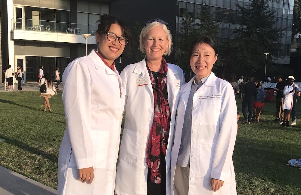 Yijun and Hui with USC Chan China Initiative Director, Julie McLaughlin Gray PhD, OTR/L, FAOTA