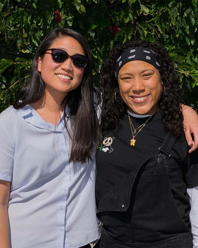 Student Ambassador Erika Lim MA '18 and Kim Jones MA '18