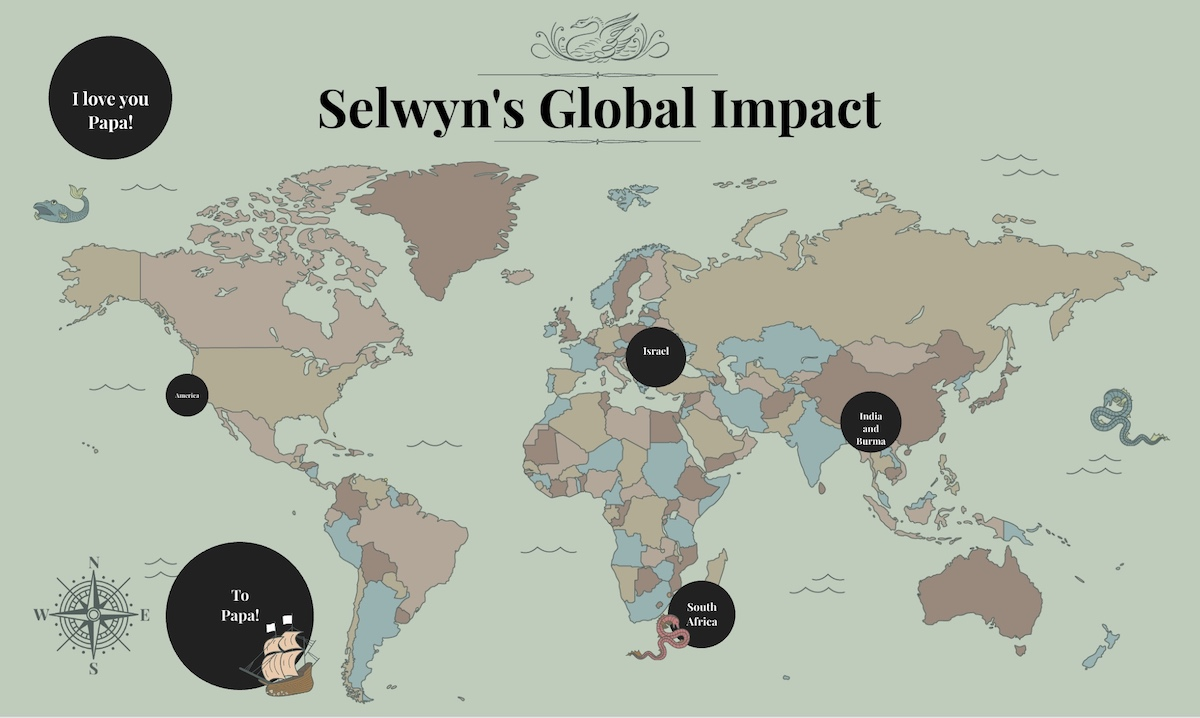 Savi Lurie shared a map presentation of her grandfather's travels and global influence
