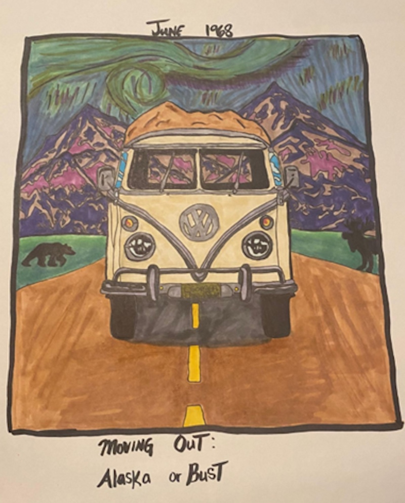 Tess Mayer created a colorful drawing of her grandparents' van traveling through Alaska to depict adventure