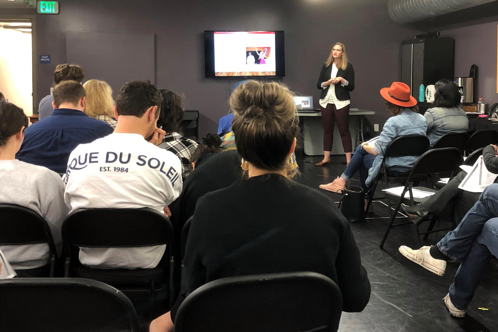 Emily Sopkin leads training workshop at A Noise Within theater company