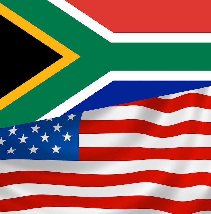 Flags of South Africa and United States