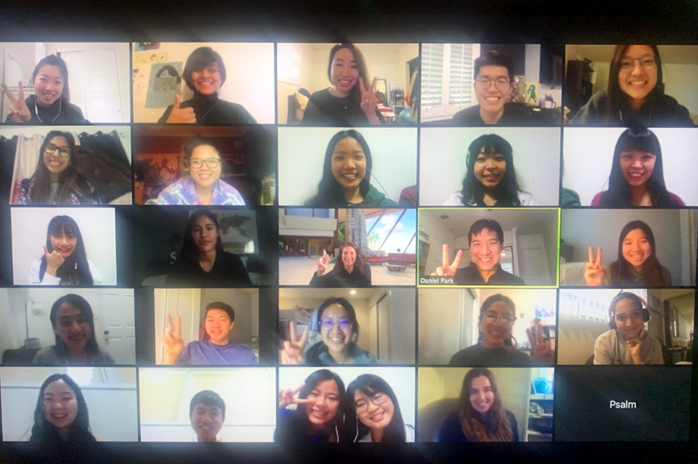 USC Chan students meet with occupational therapy students from Kaohsiung Medical University in Taiwan in a virtual classroom on Zoom.