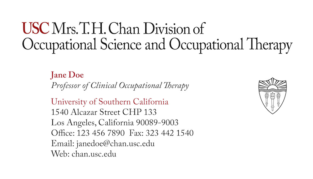 USC Chan business card