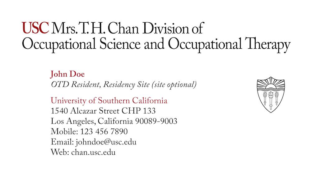 USC Chan business card for OTD resident