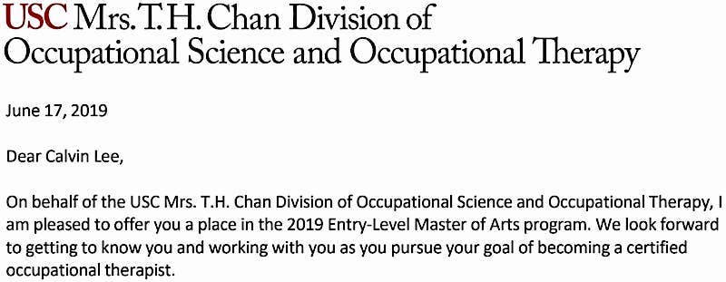 2019 Acceptance Letter from USC Chan