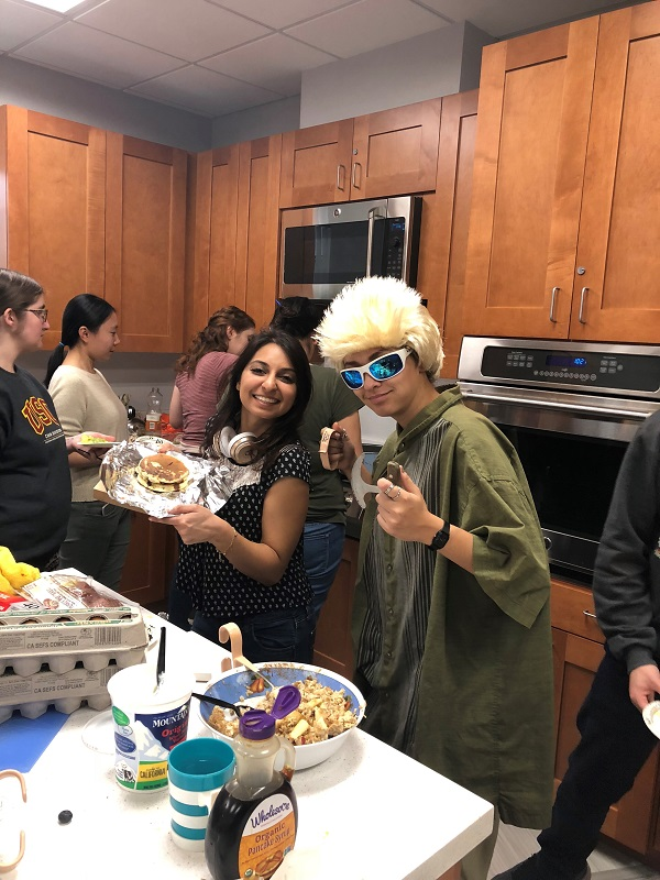 This image shows a student dressed up as Guy Fieri
