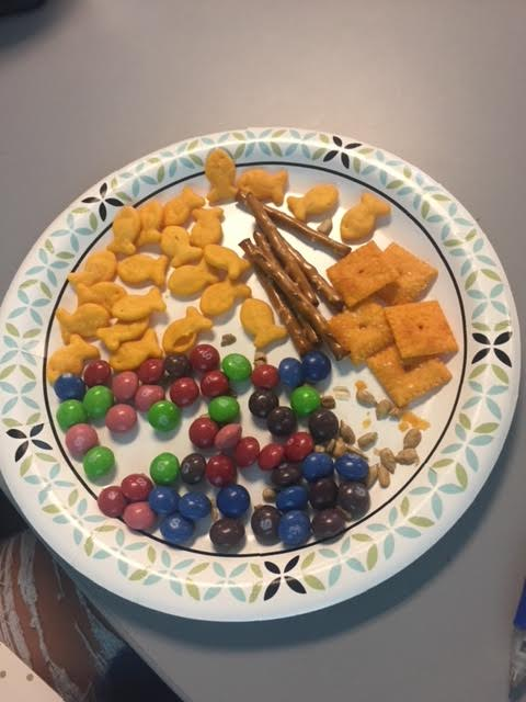 Goldfish, pretzels, and other snacks used for a grasp analysis activity.