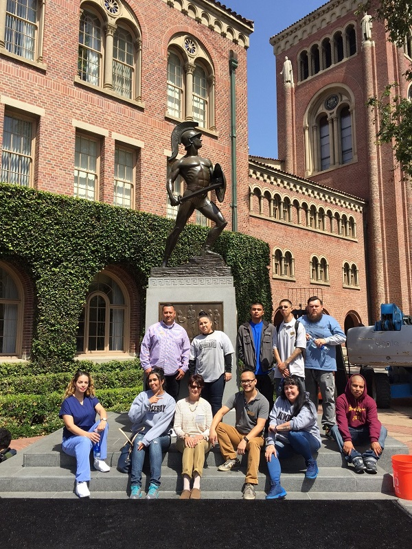 Homeboys Posing in front of Tommy Trojan
