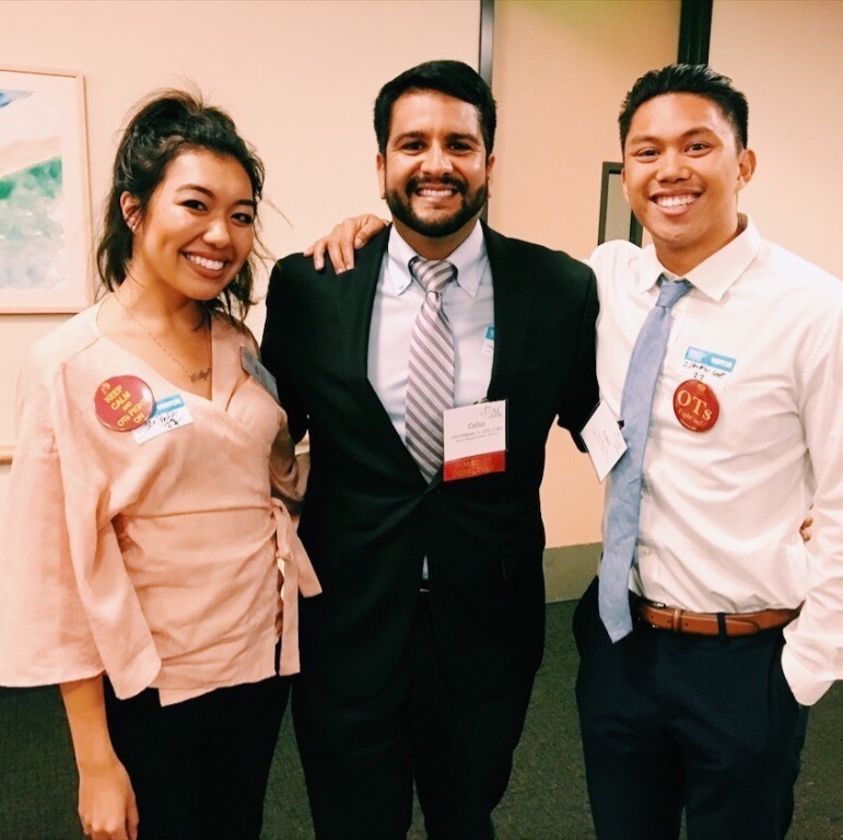 Working at the 2017 OTAC Legislative Reception hosted at Children's Hospital Los Angeles with Region 2 Director, Dr. Delgado, and fellow OTAC Student Delegate, Erwin.