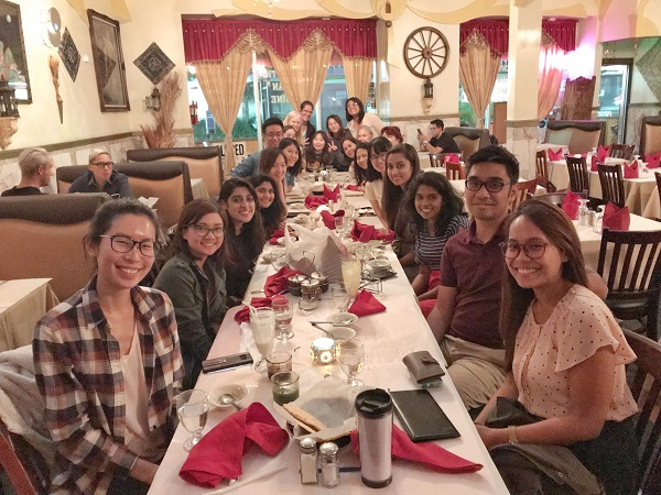 We took a picture when we had dinner with Dr. Cermak at an Indian restaurant after finishing one of our big projects