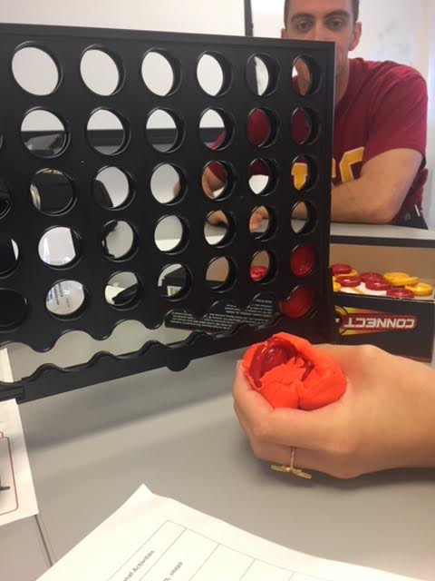 Play doh and connect 4 treatment activity