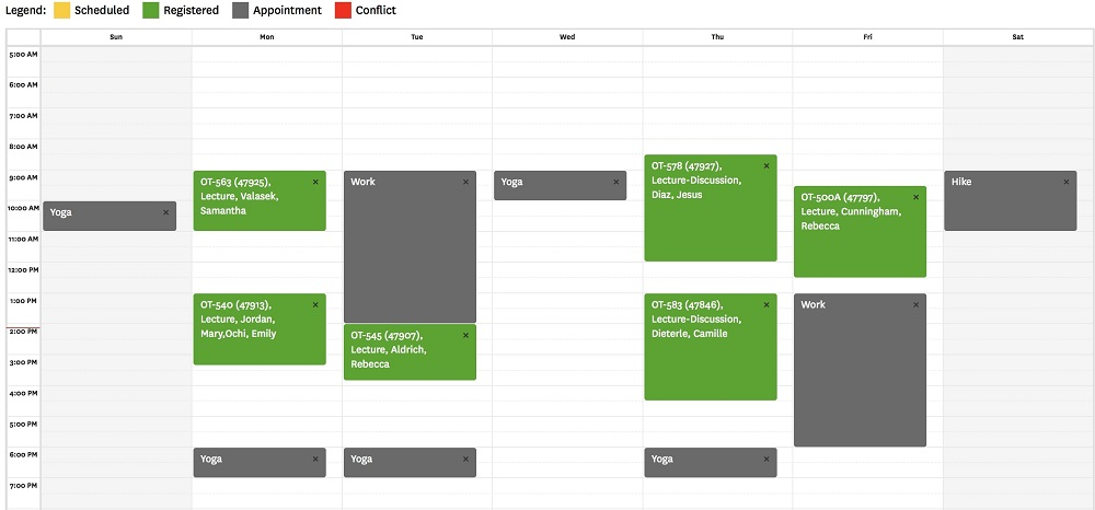 Schedule of my typical week as a USC OT student in the last academic semester of the Entry-Level Master's program.