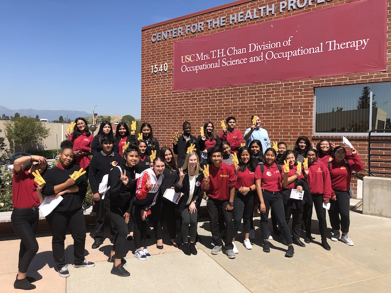 Students from USC Hybrid High visiting the Chan Division