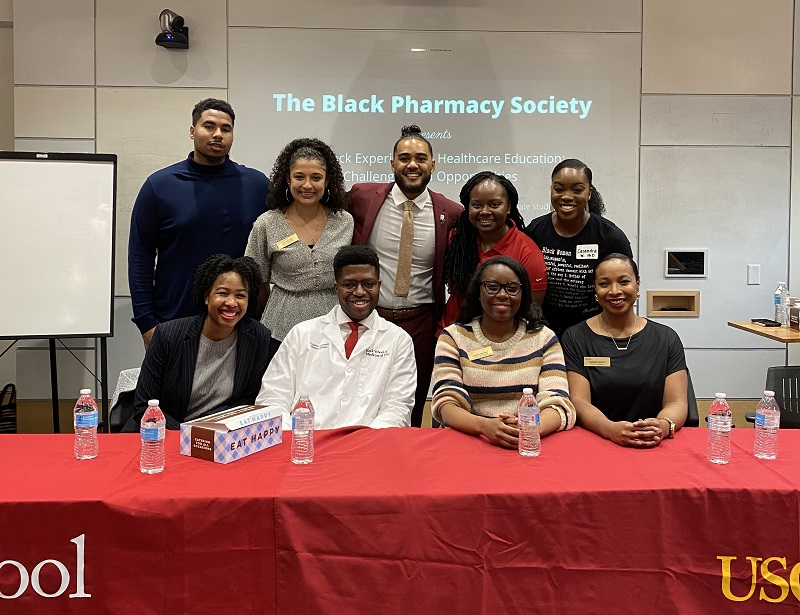Pictured are 9 Black students who spoke on the panel