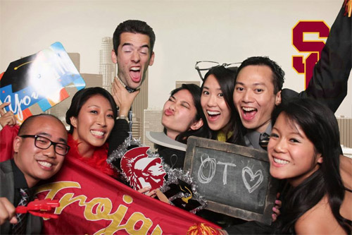 We get silly for photo booth at End of Year party.