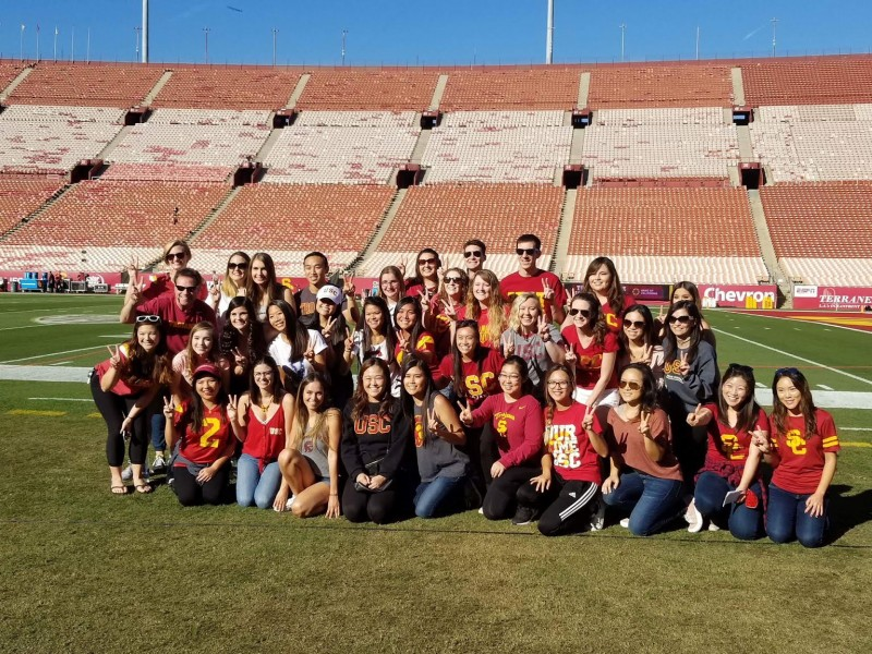 Our whole group out on the football field!