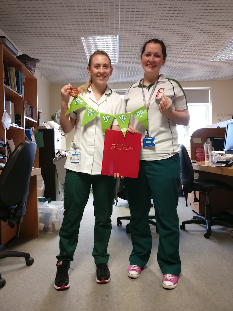 The lovely OTs (Kirby & Gillian) who graciously let me shadow them on their rounds at Galway University Hospital